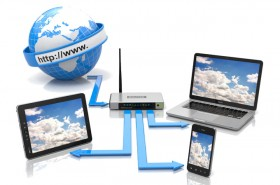 Example of wireless networking to mobiles, tablet pc, laptops and modem
